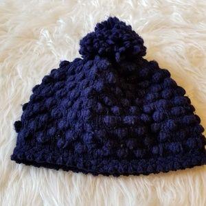 Knit Hat Popcorn Stitch Pom Pom Navy Blue